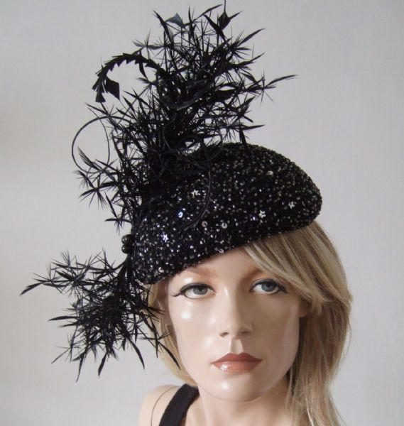 "Black Silver Beaded and Sequin Feathered Beret Headpiece Cocktail Ascot Hat ""Black Caviar"""